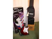Yamaha Pacifica electric guitar, practice amp and stand