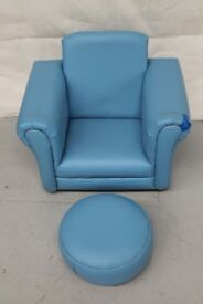 Blue Childrens rocker chair and matching stool
