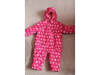 Baby girl, pink owl, snowsuit, size 9-12mth