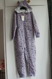 New with tags John Lewis Children's Sweater Dog Print Onesie Lilac Marl 7-8 Years RRP £24