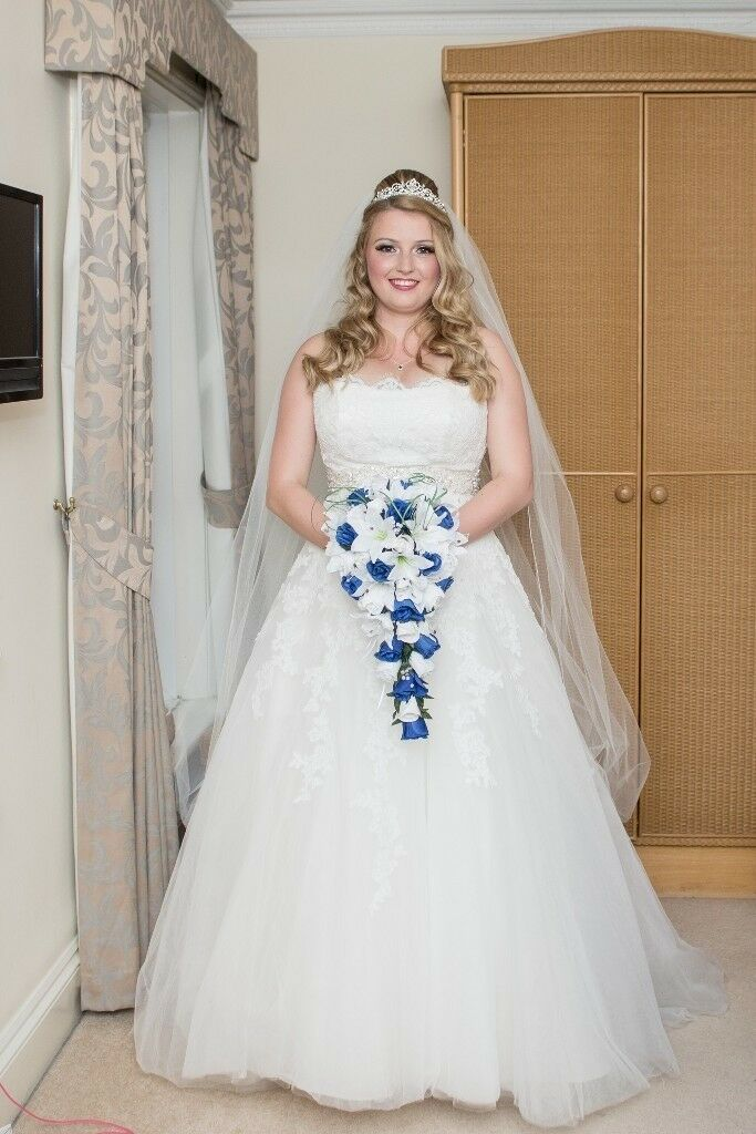 Designer Maggie Sorreto Wedding Dress Size 10 Unaltered Including Vail And Belt