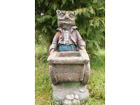 Vintage Stone Ornament of Owl Pushing a Wheelbarrow
