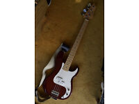 """Bass Guitar, 4 String, Precision Style, Red, """"Johnson"""""""