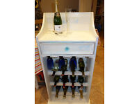***STYLISH*** Tall, vintage, shabby chic, rustic, pine, 12 bottle, wine and glasses rack.