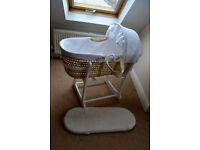 John Lewis moses basket with rocking stand + additional mattress