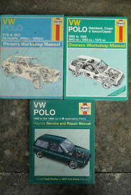 3x Haynes manuals for Volkswagen Polo (mk1 and mk2)