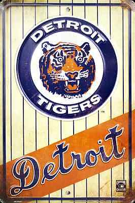 Detroit Tigers Metal - DETROIT TIGERS METAL SIGN RETRO VINTAGE PARKING SIGN MAN CAVE 8