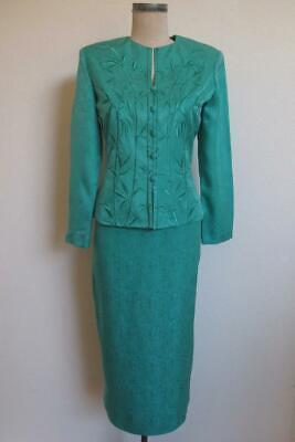 Papell Silk 2 Piece Dress 6P Turquoise Aqua Blue Jacket Pencil Skirt Embroidered Elegant 2 Piece Jacket Dress