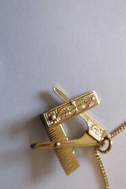 9ct gold masonic pendant & chain