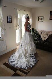 Black n ivory wedding dress and bridesmaid dresses