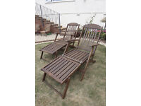 Wood reclining steamer chairs with cushions