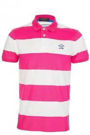 AUTHENTIC PAUL & SHARK PINK STRIPED POLO TEE SHIRT T-SHIRT M L XL BNWT