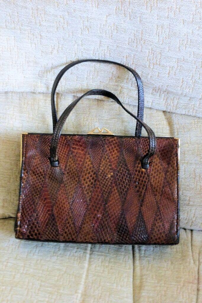 Vintage 1970s Ackery Of London Snakeskin Leather Handbag Hand Bag Excellent See