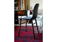 1 of 4 Normann Form Blue Walnut Dining Chair - Cast Plastic With Wooden Legs Red Charles Eames