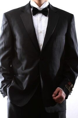 MEN'S SINGLE BREASTED TWO BUTTON BLACK TUXEDO SIZE 46S, PL-T60212N-BLK