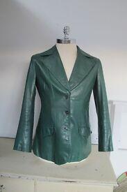 Leather Jacket, Ladies, bottle green, size 42