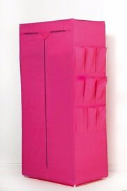 Fabric wardrobe with pockets in pink