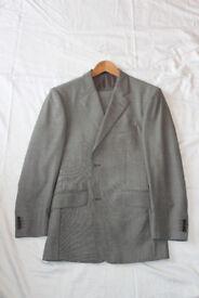 Men's suit - T.M. Lewin Wentworth Light Grey Sharkskin 2-Button Regular Fit Male Business Suit