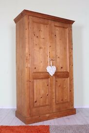 QUALITY WARDROBE SOLID PINE DOUBLE LONG HANGING SPLITS IN 2 PARTS - CAN COURIER