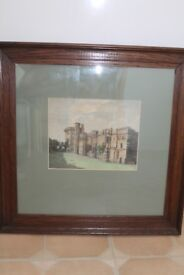 A very rare antique print of Thornbury Castle solid dark oak frame, where Henry VIII used to stay