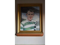 """Saltcoats lion"", an original oil painting of Bobby Lennox by Barbara Pokryszka."