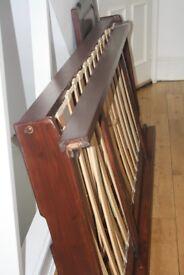 John Lewis Dark wood Morgan Guest bed (2 singles) with decorative headboard £80