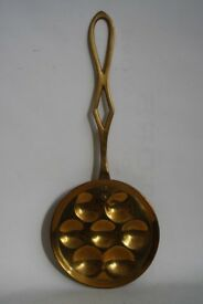"""Decorative Brass Kitchen Spoon Egg Holder Wall Hanging Collectible 15"""" Long"""