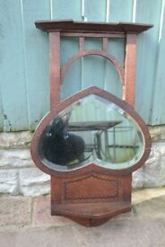 Oak heart shaped Arts and Crafts antique Edwardian wall mirror