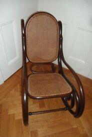 Thonet Style Art Nouveau bent wood wicker rocker rocking chair French