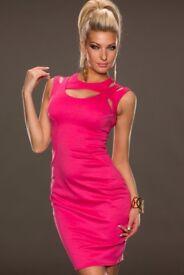 Pink Fantastic Neck around Design Midi Dress. SIZE 10/12