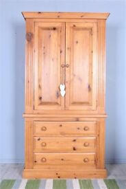 DELIVERY OPTIONS - QUALITY MADE SOLID PINE DOUBLE WARDROBE 3 LARGE DRAWERS