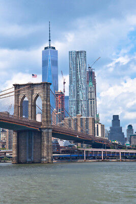 Brooklyn Bridge and New York Skyline Photo Art Print Poster (New York Skyline Photo)