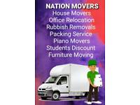 24/7 cheap reliable man and van hire house office removals rubbish clearance piano furniture movers