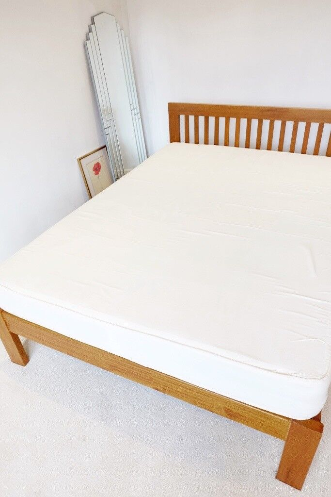 Muji Walnut Colour Solid Wood Double Bed frame with Muji mattress ...