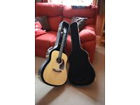 Legacy LED30 6 string acoustic guitar with hard case and two basic music books