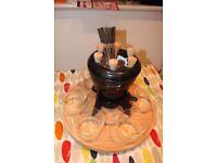 BODUM Nissen Black Cast Iron Fondue Set 6 Glass Bowls 6 Forks