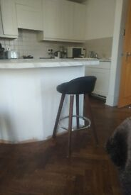 Midcentury style counter / bar stool black leather + wood