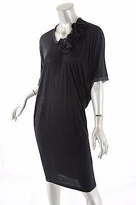 LANVIN Black Short Sleeve Viscose Knit Dress w/ Silk Flower Detail NWT Sz S $830
