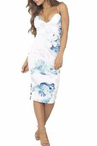 NEW White Closet Blue Floral Sexy Bodycon Club Dress 10 Forrestfield Kalamunda Area Preview