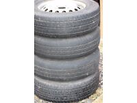 4no. 195/70R/15C Tyres 104/102R. Fitted to: Mercedes Vito steel rims. As used on the Transit.