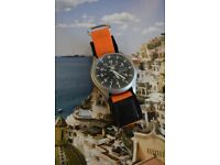 Customised Seiko 5 Sports Automatic Men's SNZG15K1 Watch with Black and Orange NATO Strap