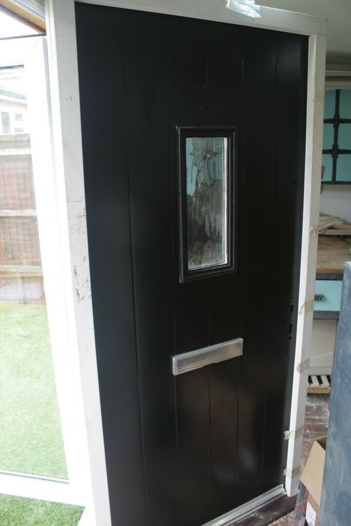 Modern External Front Door Matt Black Aluminium Filled With