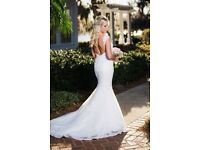 LQ Design Ivory Mermaid Wedding Dress Size 8