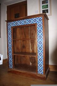 Dark Wood Tile Fronted Bookcase. Good condition. 90cm wide, 1.20m high, 41cm deep.