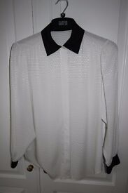 LADIES WHITE BLOUSE WITH BLACK COLLAR AND CUFFS, SIZE 12