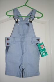 NEXT Brand New With Tags Blue & White Striped Dungarees 1 1/2 - 2 years