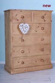 NEW-2 OVER 4 QUALITY PINE CHEST DRAWERS NOT FLAT PACKED OR IMPORT-CAN COURIER