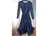 Beautiful Black Vintage Dress with Feather Trim Size 8