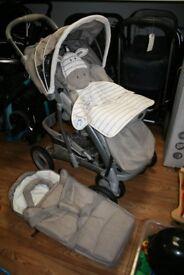 Graco Ziggy Zebra Travel System Includes pushchair, footmuff, soft carrycot & raincover