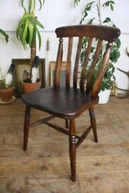 Antique Wooden Farmhouse Chair Retro Vintage Furniture
